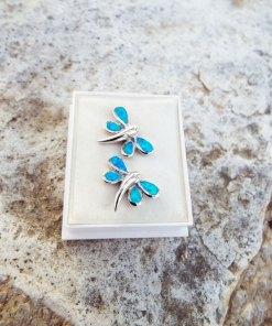 Dragonfly Earrings Opal Studs Silver Gemstone Handmade Sterling 925 Swirl Spiral Antique Vintage Jewelry
