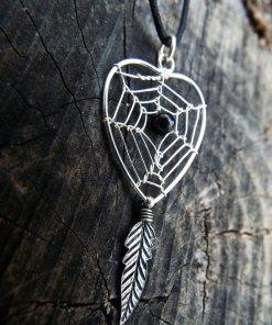 Dreamcatcher Pendant Heart Sterling Silver Handmade Necklace 925 Black Onyx Gemstone Indian Native American Love