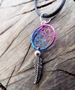 Dreamcatcher Pendant Silver Necklace Handmade Sterling 925 Native American Indian Symbol Dream Rainbow Tribal Jewelry