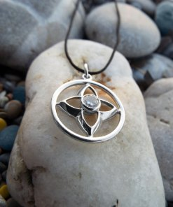 Flower Pendant Silver Crystal Sterling 925 Clear Gemstone Lotus Handmade Necklace Jewelry Floral