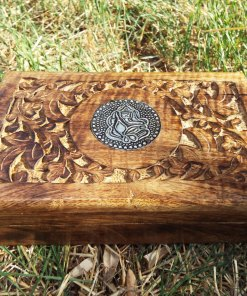 Ganesha Box Indian Balinese Hindu Elephant Mango Tree Wood Handmade Carved Flower Animal Symbol Trinket Jewelry Chest