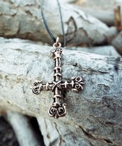 Inverted Cross Pendant St Peter Crucifix Necklace Handmade Gothic Dark Bronze Jewelry