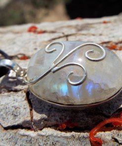 Moonstone Pendant Silver Handmade Necklace Sterling 925 Gemstone Stone Gothic Dark Antique Vintage Jewelry