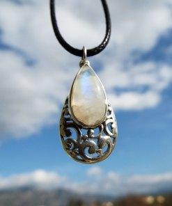 Moonstone Pendant Silver Handmade Rainbow Moonstone Gemstone Sterling 925 Necklace Tear Drop Boho Antique Vintage Gothic Dark