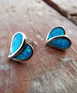 Opal Earrings Hearts Studs Silver Gemstone Love Heart Handmade Sterling 925 Antique Vintage Jewelry