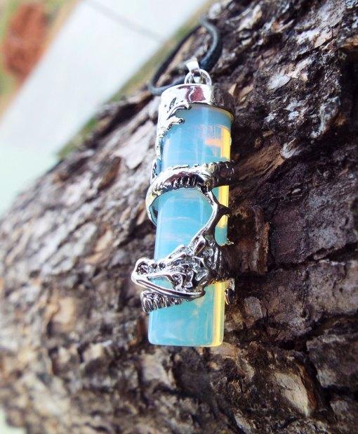 Opalite Dragon Pendant Gemstone Pendulum Silver Necklace Cylinder Handmade Gothic Magic Dark Wicca Jewelry
