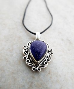 Pendant Gothic Sterling Silver 925 Blue Sandstone Gemstone Necklace Handmade Vintage Antique Filigree Dark
