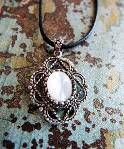 Pendant Gothic Sterling Silver 925 Gemstone Necklace White Fildisi Handmade Vintage Antique Filigree Dark