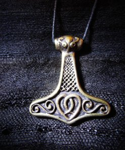 Pendant Thor's Hammer Celtic Bronze Symbol Knot Magic Handmade Jewelry Necklace