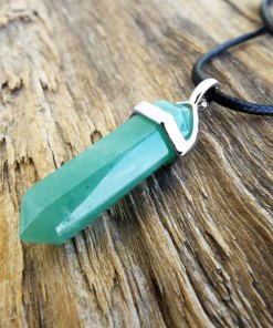 Pendulum Aventurine Pendant Silver Handmade Gemstone Necklace Stone Gothic Magic Dark Wicca Jewelry