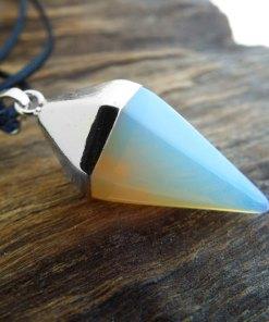 Pendulum Opalite Pendant Gemstone Pointer Silver Necklace Handmade Gothic Magic Dark Wicca Jewelry