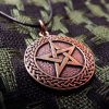 Pentagram Pendant Handmade Bronze Necklace Gothic Wiccan Magic Pagan Jewelry