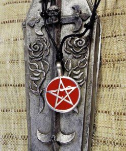 Pentagram Pendant Handmade Silver Necklace Enamel Gothic Wiccan Magic Pagan Protection Jewelry