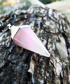 Rose Quartz Pendant Pendulum Silver Pointer Crystal Gemstone Necklace Handmade Gothic Dark Jewelry Boho