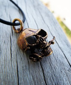 Skull Pendant Handmade Necklace Skeleton Pirate Gothic Dark Rose Flower Floral Jewelry Death Dagger Sword Corpse