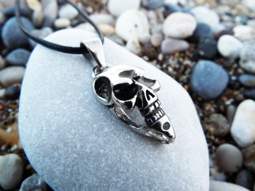 Skull Pendant Silver Handmade Necklace Gothic Dark Crossbones Skeleton Death Jewelry