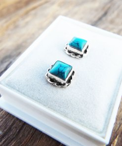 Turquoise Earrings Studs Blue Gemstone Silver Protection Handmade Sterling 925 Jewelry