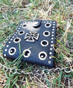 Wallet Purse Vegan Leather Handmade Cross Symbol Black Gothic Dark Chain Pouch Case Cruelty Free