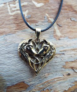 Wolf Pendant Heart Love Triquetra Celtic Knot Bronze Handmade Necklace Gothic Dark Magic Wiccan Wicca Jewelry