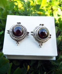 Earrings Garnet Studs Red Gemstone Silver Handmade Sterling 925 Gothic Dark Vintage Antique Jewelry