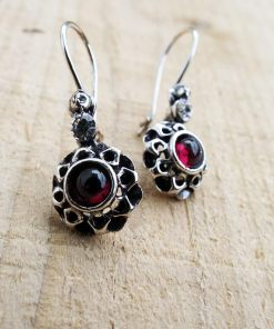 Earrings Garnet Drop Dangle Flower Red Gemstone Silver Floral Handmade Sterling 925 Gothic Dark Vintage Antique Jewelry