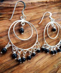 Onyx Earrings Silver Drop Dangle Gemstone Black Sterling 925 Handmade Jewelry Gothic Dark Antique Vintage