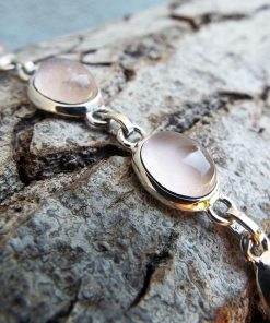 Rose Quartz Bracelet Silver Cuff Dangle Chain Sterling 925 Handmade Gemstone Gothic Dark Antique Vintage Jewelry