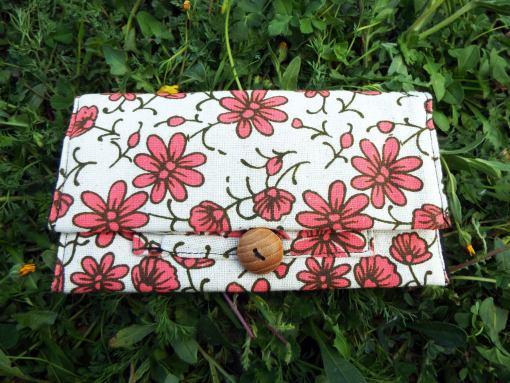 Tobacco Pouch Cotton Handmade Flower Floral Fabric Case Pocket Hand Stitched Hippie Boho