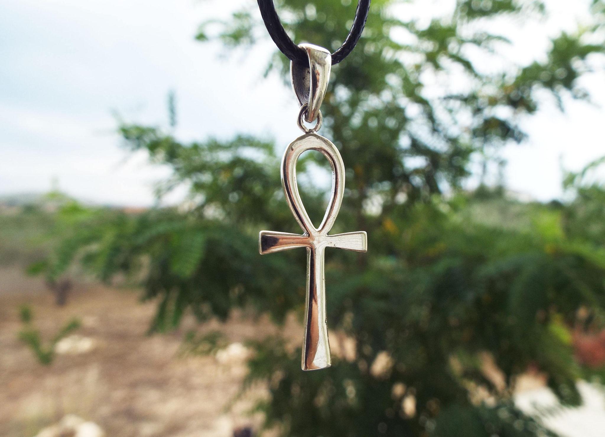 Sterling Silver Egyptian Ankh Amethyst Gemstone Post Earrings Kemetic Jewelry