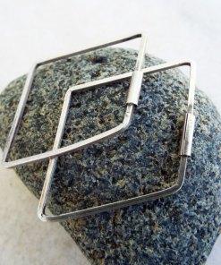 Bali Hoop Earrings Diamond Silver Balinese Sterling 925 Tribal Handmade Jewelry Traditional Diamond Shaped