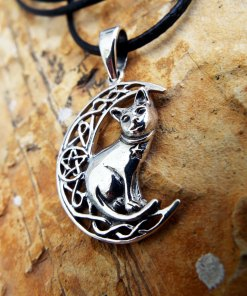 Cat Moon Pendant Silver Handmade Necklace Pentagram Sterling 925 Witch Halloween Necklace Celtic Jewelry Pagan Protection Symbol