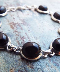 Onyx Bracelet Silver Cuff Dangle Chain Sterling 925 Handmade Black  Gemstone Zircon Gothic Dark Antique Vintage Jewelry