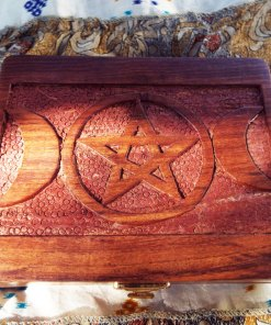 Pentagram Triple Moon Goddess Box Wooden Jewelry Handmade Carved Home Decor Trinket Gothic Wiccan Magic Pagan Treasure Chest