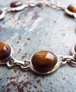 Tiger's Eye Bracelet Silver Cuff Handmade Sterling 925 Bohemian Stone Gothic Jewelry