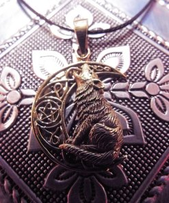 Wolf Pendant Moon Pentagram Bronze Handmade Necklace Gothic Dark Magic Celtic Wiccan Jewelry