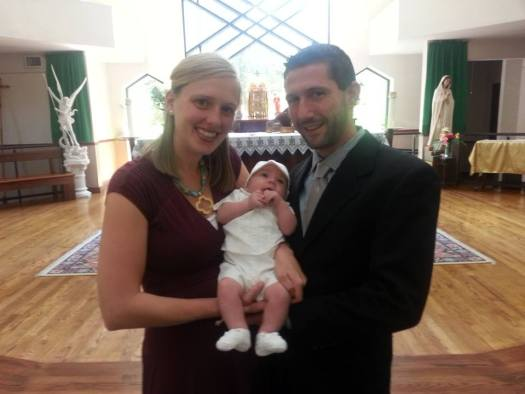Isaac with his Godparents Ryan and Ashley. Down here they are called Nanny and Paran.