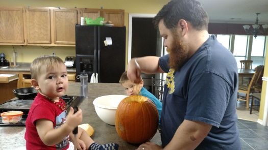 Carving a pumpkin once home