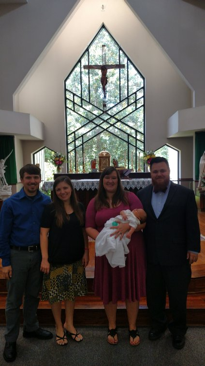 Us with his Godparents, Logan and Jen