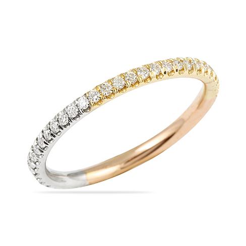 40 CT ROUND DIAMOND TRI COLOR GOLD WEDDING BAND