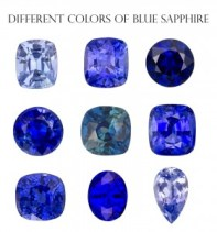 Various shades of blue sapphire color
