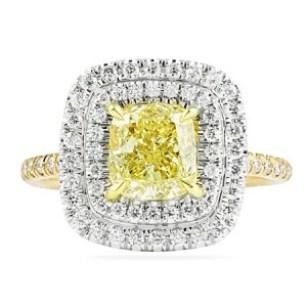 cushion cut yellow diamond in double halo custom ring