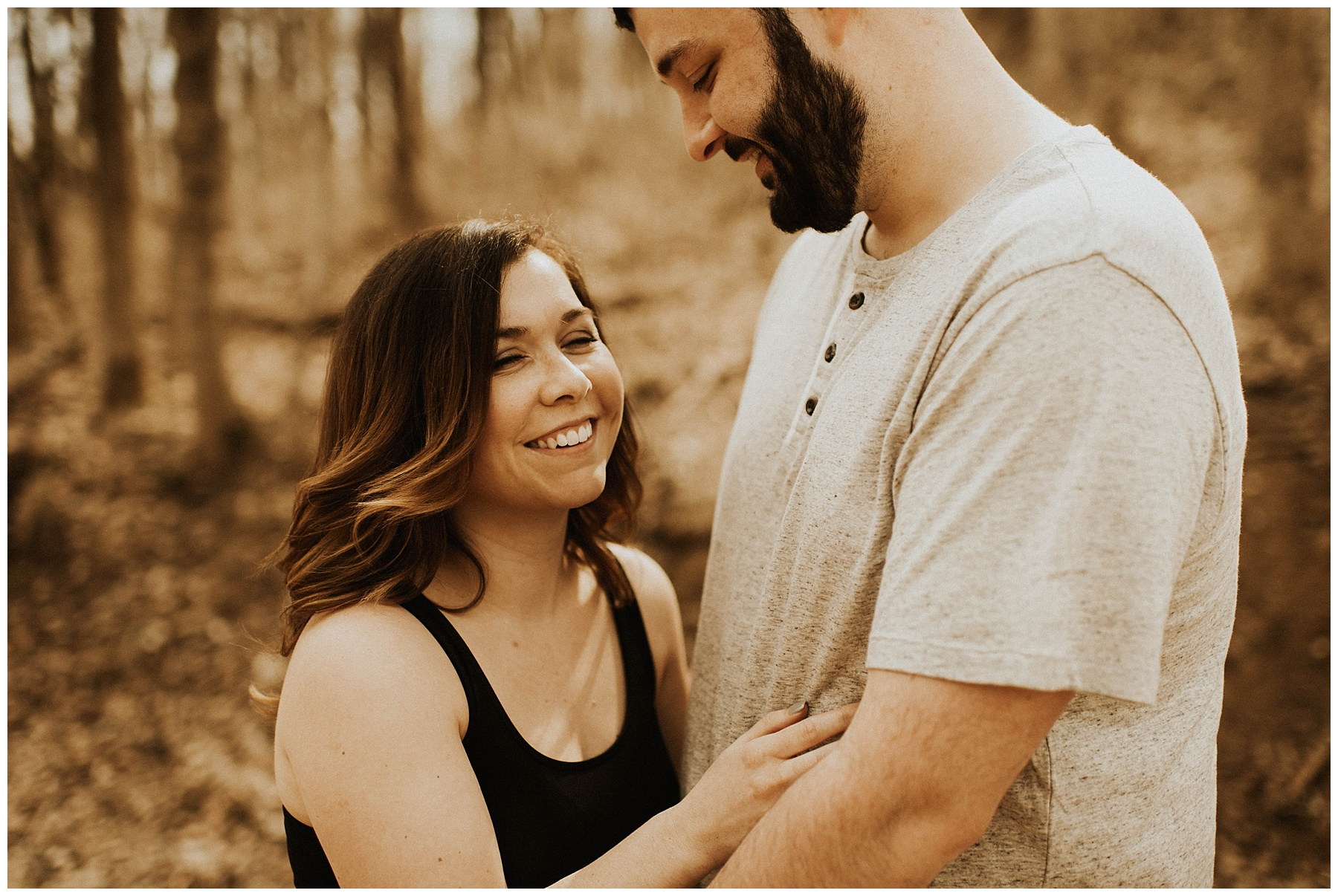 Charlie + Tiffany Engagements in the woods Lauren F