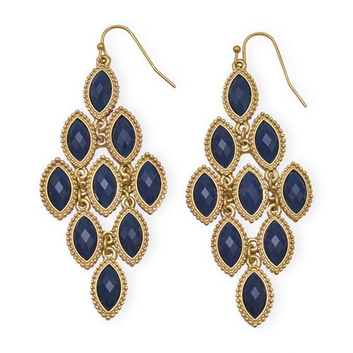 Antonia Navy Blue Chandelier Earrings Zoom