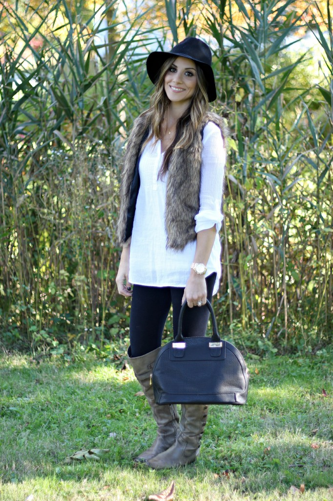 Fur Vest, Fall Fashion, Over the Knee Boots, Wool Hat