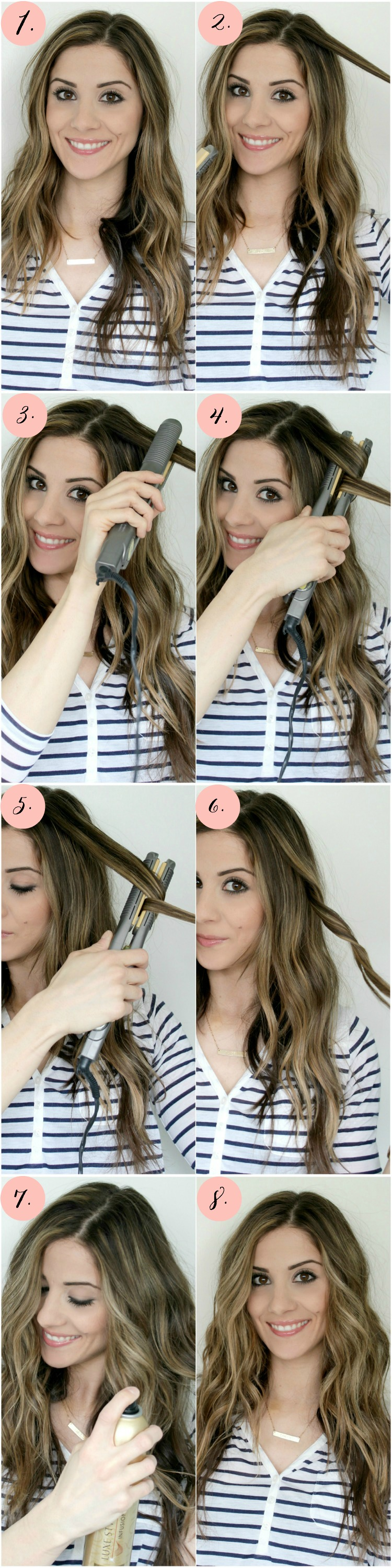 Save this! A super easy Flat Iron Curls Tutorial for the mom on-the-go or an easy summer style!
