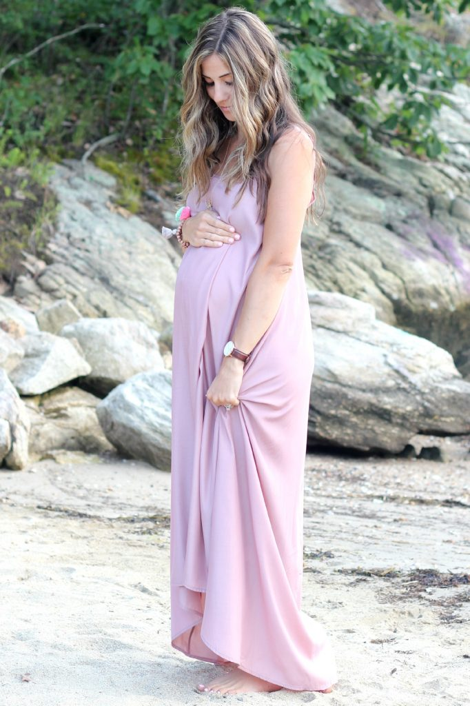 Pink Stitch Resort Maxi in Taupe, Maternity Fashion, Maternity Style