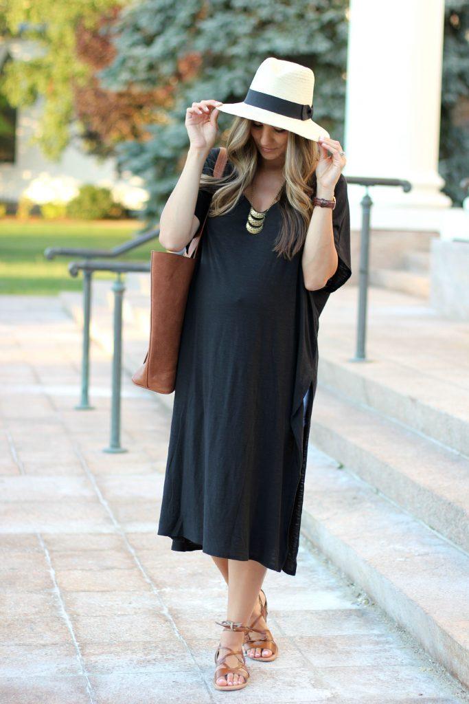 Black High Side Slit Dress , Gladiator sandals, Maternity fashion, Maternity style,  Casual maternity look