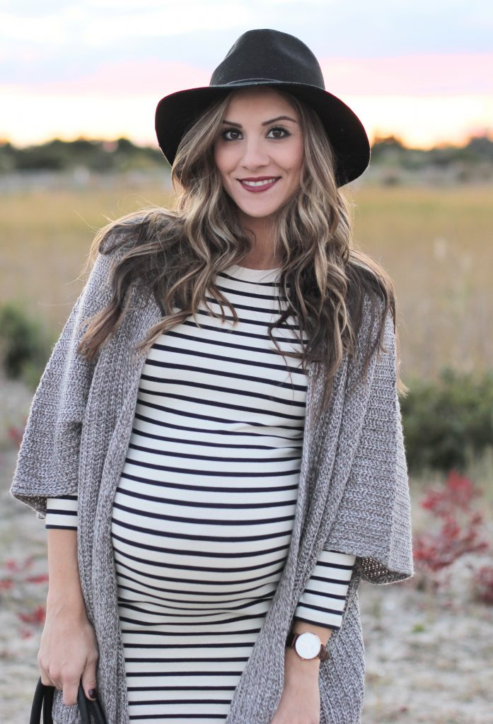 Maternity Style Striped Dress With Cozy Cardigan And