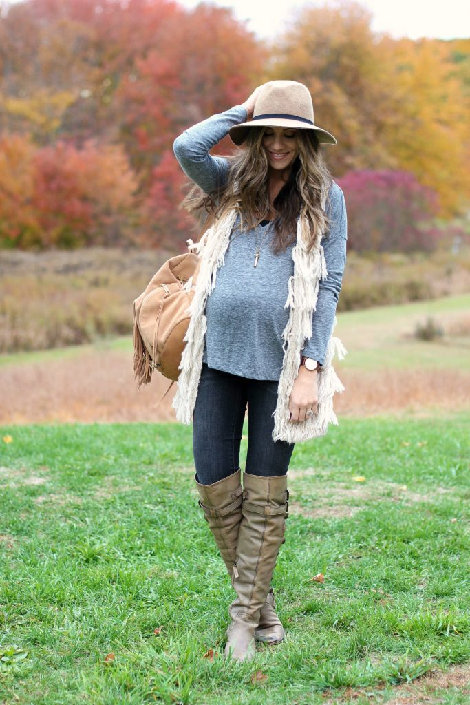 Fall maternity style, fall maternity fashion, fringe vest and over the knee boots, Sam Edelman Pierce