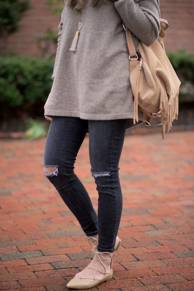 Free People Softly V Sweater with distressed black denim and lace up flats